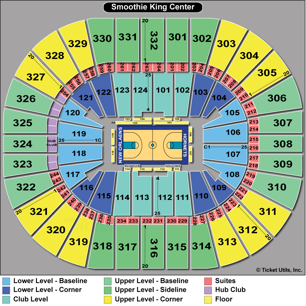 Smoothie King Center Tickets Events Seating Chart