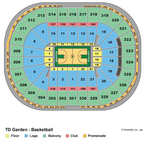TD Garden Basketball Seating Chart