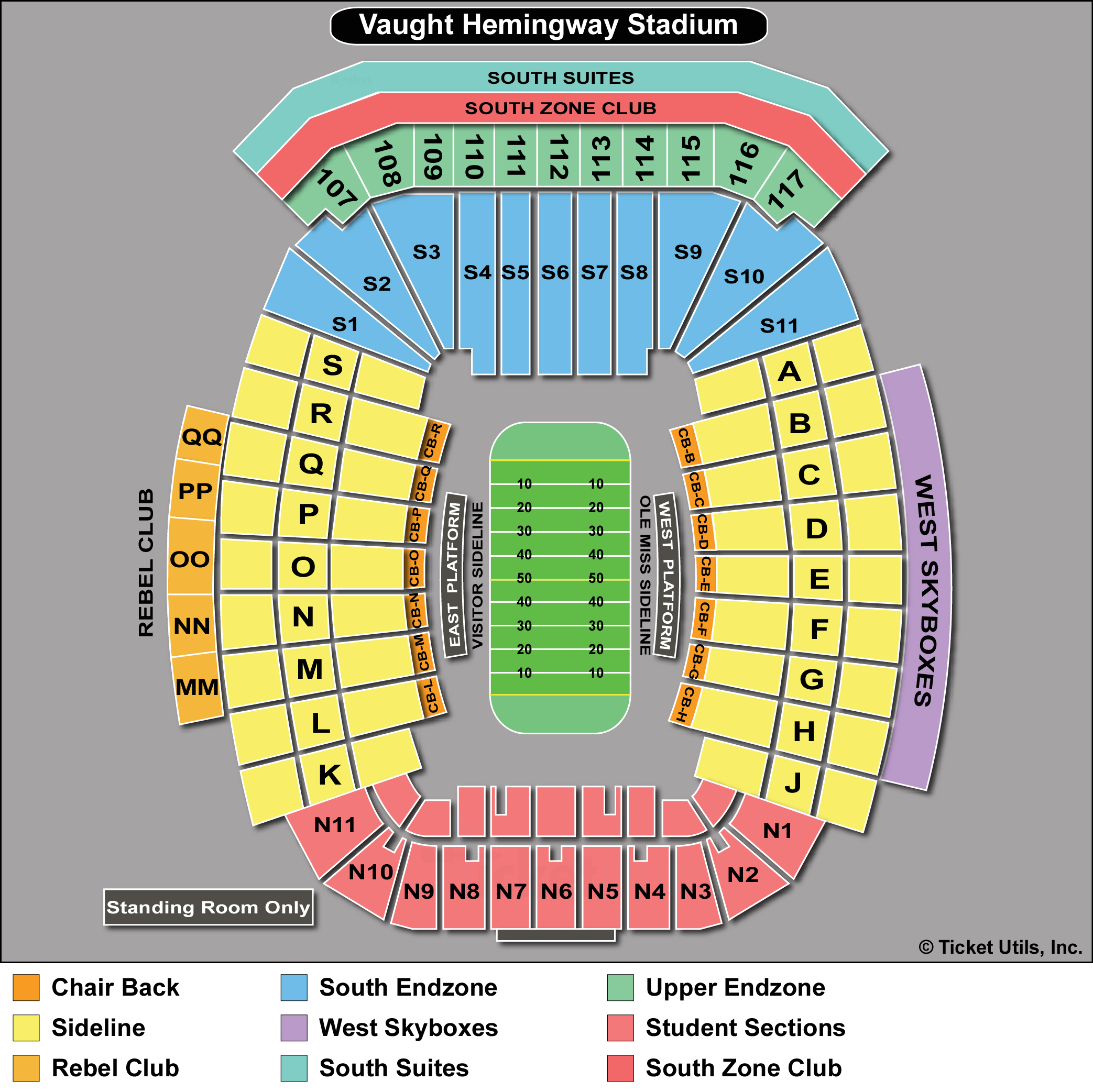 Vaught-Hemingway Stadium Seating Chart