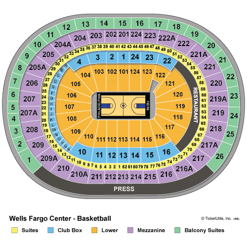 Wells Fargo Center Basketball Seating Chart